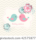 wedding invitation with two birds and flowers 42575877