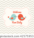 Baby shower with two cute birds, illustration 42575953