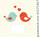 Abstract template with two cute birds 42575957