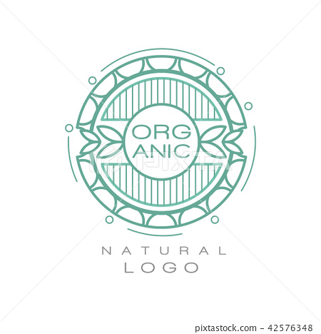 Organic natural logo design template, ecology sign for healthy products, natural cosmetics, premium 42576348