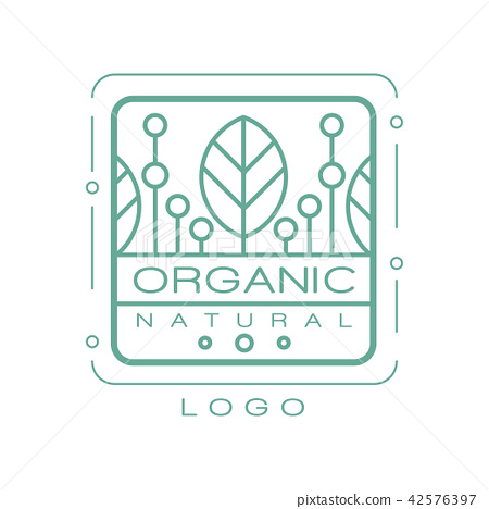 Organic natural logo, design element for healthy products, natural cosmetics, premium quality food 42576397