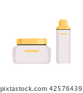 Skincare cosmetic packages with golden caps, face cosmetic, lotion, serum or cream bottles vector 42576439