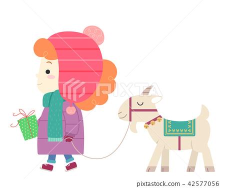 Kid Girl Sweden Yule Goat Gift Illustration 42577056