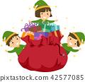 Stickman Kids Elf Gift Bag Illustration 42577085