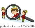 Stickman Kids Elf Magnifying Glass Illustration 42577086