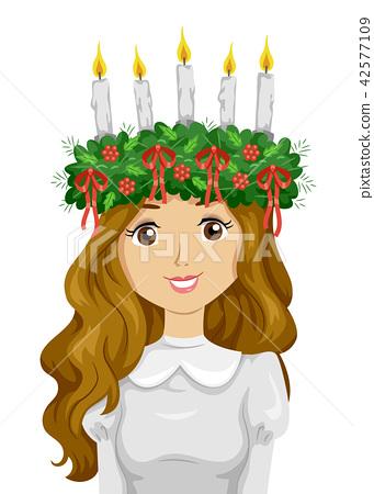 Teen Girl Sweden Saint Lucia Crown Illustration 42577109