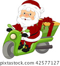 Santa Scooter Gift Illustration 42577127