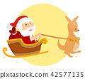 Santa Xmas Kangaroo Sleigh Illustration 42577135