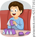 Kid Boy Building Card Tower Illustration 42577161