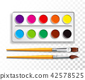 Design set of bright watercolor paints in box with paint brush on transparent background. Colorful 42578525