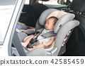 Asian newborn baby on safety car seat 42585459