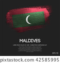 Maldives Flag Made of Glitter Sparkle Brush Paint 42585995