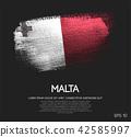 Malta Flag Made of Glitter Sparkle Brush Paint 42585997