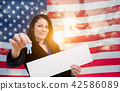 Hispanic Woman House Keys and Blank Sign In Front of American Fl 42586089