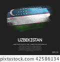 Uzbekistan Flag Made of Glitter Brush Paint 42586134