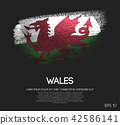 Wales Flag Made of Glitter Sparkle Brush Paint 42586141