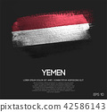 Yemen Flag Made of Glitter Sparkle Brush Paint 42586143