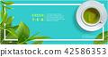 Vector green tea horizontal banner blue tea leaves 42586353