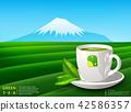 Vector green tea horizontal banner blue tea leaves 42586357