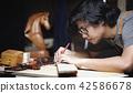 Carpenter Working in Woodworking Workshop 42586678