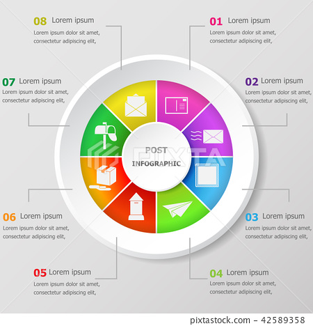 Infographic design template with post icons 42589358