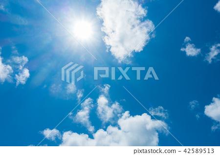 藍天太陽天空背景背景材料 42589513