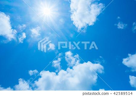 藍天太陽天空背景背景材料 42589514