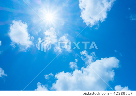 藍天太陽天空背景背景材料 42589517