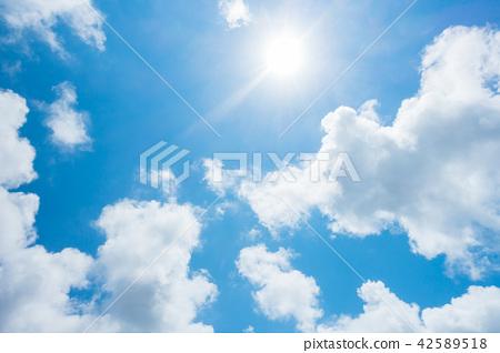 藍天太陽天空背景背景材料 42589518