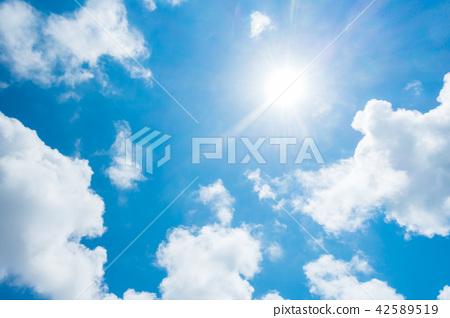 藍天太陽天空背景背景材料 42589519