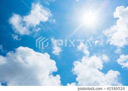 藍天太陽天空背景背景材料 42589520