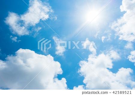 藍天太陽天空背景背景材料 42589521