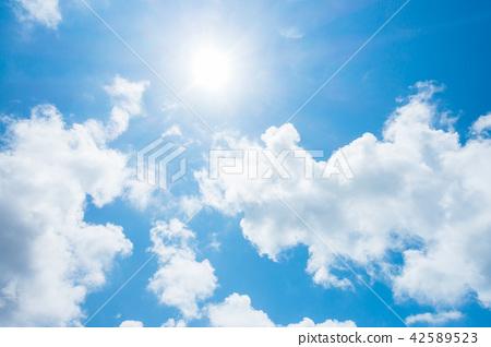 藍天太陽天空背景背景材料 42589523