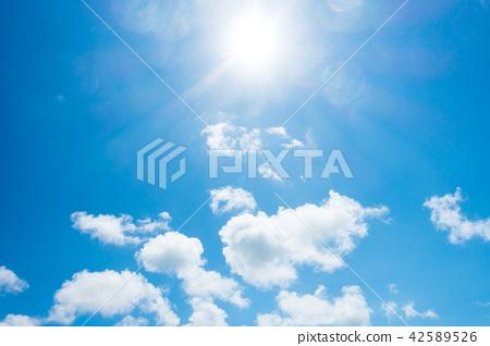 藍天太陽天空背景背景材料 42589526
