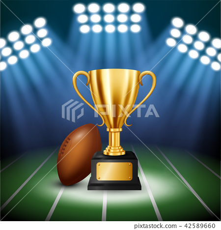 American football Championship with Golden Trophy  42589660