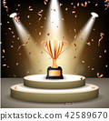 Realistic Bronze Trophy on stage with confetti 42589670