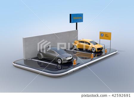 分享私有停車場的汽車的圖像在智能手機。 42592691