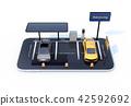 스마트 폰에 태양 광 패널, 충전 시설을 갖춘 주차장. 카 쉐어링의 개념 42592692