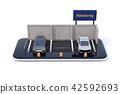一個微型停車庫與乘坐共享在智能手機上的招牌。乘車分享業務的概念 42592693