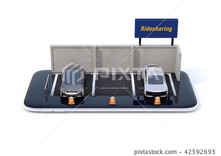 스마트 폰에 라이드 공유 간판이있는 주차장의 미니어처. 라이드 공유 비즈니스의 개념 42592693