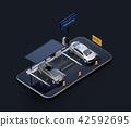 智能手機上的太陽能電池板,帶充電設施的停車場。汽車共享的概念 42592695