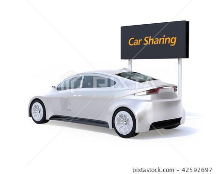 在電車後的圖像汽車分享的在白色後面 42592697