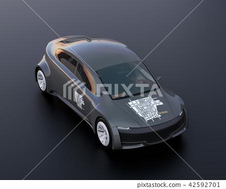 电车的图象有分享在黑色后面的汽车的图表贴纸 42592701