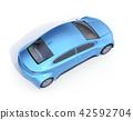 一隻金屬藍色電動車的概略的看法在白色後面的 42592704