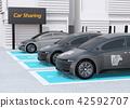 分享私有停車場的電車充電的汽車的圖像 42592707