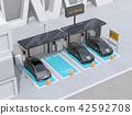 分享私有停車場的電車充電的汽車的圖像 42592708