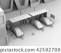 黏土翻譯共享私有停車場的電車充電的汽車的圖像 42592709