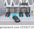 分享私有停车场的电车充电的汽车的图象 42592710