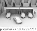 黏土翻譯共享私有停車場的電車充電的汽車的圖像 42592711