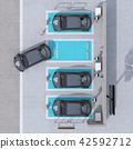 电动汽车的鸟瞰图充电汽车共享私人停车场 42592712